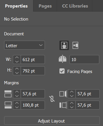 Adobe InDesign CC 2019 Properties panel