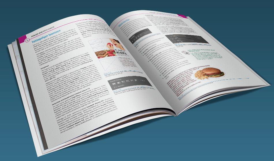 Adobe InDesign CC 2020 velhon käsikirja tarjoaa tehokkaan tietopaketin. Sähköisessä PDF-versiossa voit katsoa opasta (PDF-lukuohjelmastasi riippuen) joko sivu kerrallaan tai kahden sivun aukeamana. Vastaavasti valmiiksi tulostetut, niitatut ja postitetut versiot ovat A4-paperille tehtyjä värilasertulosteita.