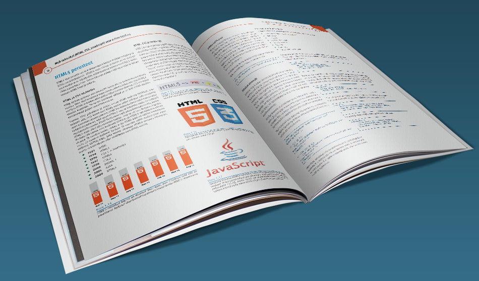 Web-tekniikat-velhon käsikirja (2020) (HTML5, CSS3, JavaScript) tarjoaa tehokkaan tietopaketin. Sähköisessä PDF-versiossa voit katsoa opasta (PDF-lukuohjelmastasi riippuen) joko sivu kerrallaan tai kahden sivun aukeamana. Vastaavasti valmiiksi tulostetut, niitatut ja postitetut versiot ovat A4-paperille tehtyjä värilasertulosteita.
